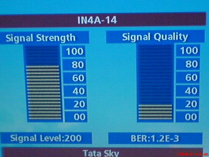 DX reception PAY TV Tata Sky India from satellite Insat 4A