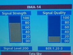 TATA SKY India SIGNAL LEVEL AT THE 6-36 am from Insat 4a at 83E KU band