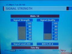 TATA SKY India SIGNAL LEVEL AT THE NIGHT from Insat 4a at 83E KU band