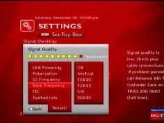Measat 3 at 91.5 e-south asia beam-Reliance Digital TV-reception quality-12 603 V-02w