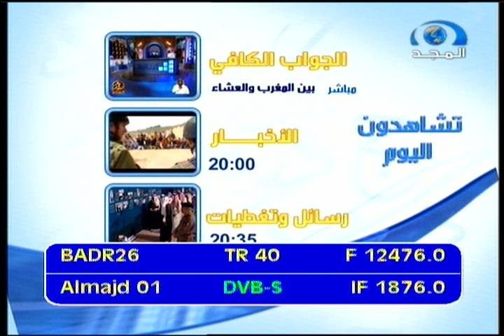 Badr 6 at 26.0 e _ BSS footprint _ 12 476 V Al Majd Netw _ IF data