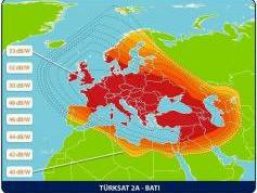 Turksat 2A at 42.0e-West beam