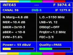Intelsat 11 at 43.0 w_C band_Americas Europe footprint _ 3 874 V Canal 36 test card _ Q data